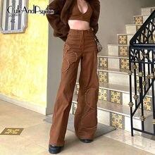 Streetwear Patchwork floreale y2k Jeans marroni donna pantaloni oversize Vintage in Denim a vita alta pantaloni Cargo moda cuteandpsicopatico