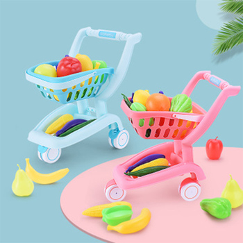 Cute Shopping Cart Toys For Children Fruit Vegetable Simulation Trolley Grocery Set Pretend Play Toy Gift For Girl Kids toddler walker baby boy and girl pretend play simulation shopping cart trolley wooden early education toy for kids birthday gift