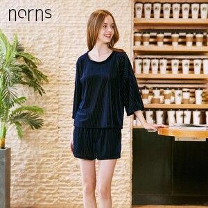 Image 2 - Norns Gold Velvet Pajamas Womens Four Seasons Sleeve Shorts Two piece Home Service Sleepwear Nightwear