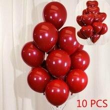 10Pcs Inch Heart Round Grenadine Balloons Wedding Party Birthday Ballons Decorations Romantic Globos Valentines Day Surprise