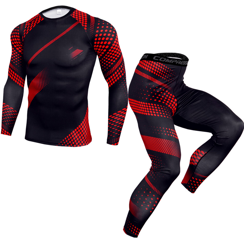 New Men's Gym Sports Suit Slim Long-sleeved T-shirt + Tight Trousers Men's Fitness Two-piece Outdoor Riding Elastic Sportswear