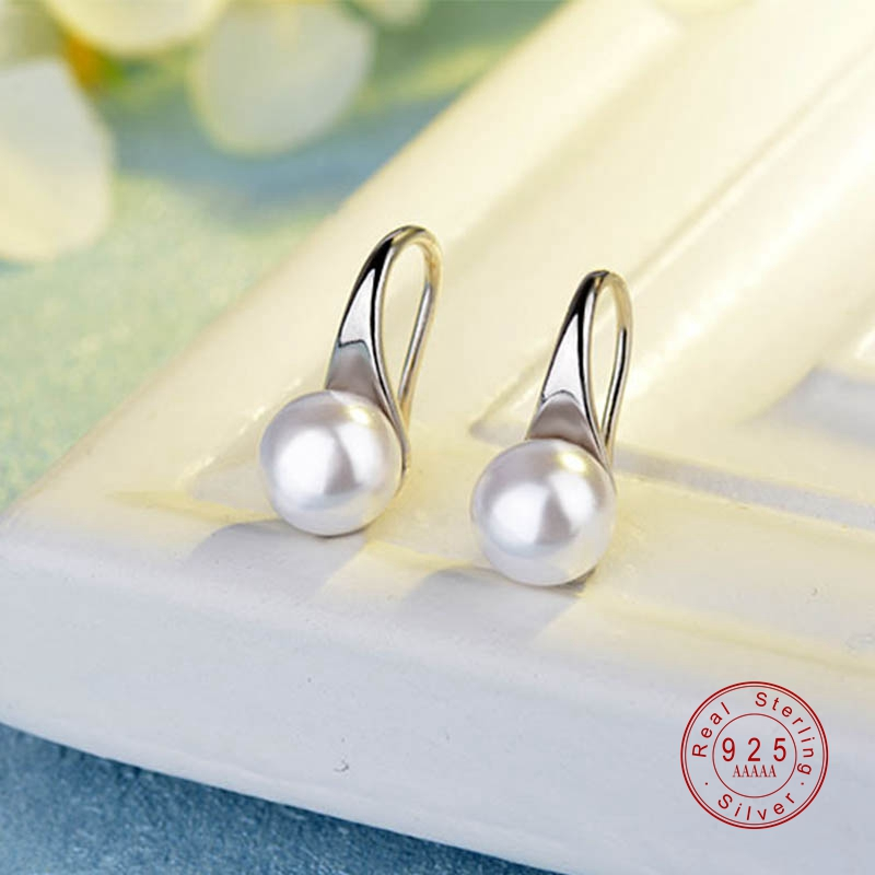 925 Sterling Silver Big Clear Pearl Earrings Simple Round White Pearl Earrings Jewelry Classic Earrings For Women Elegant Gifts