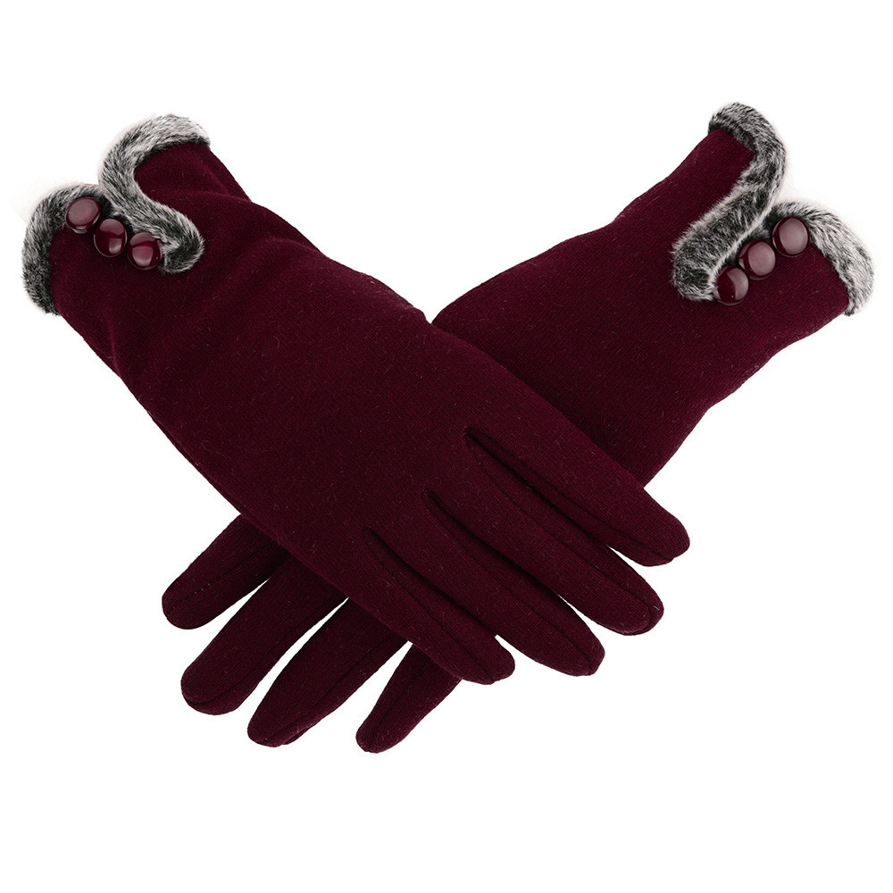 Women Cashmere Keep Warm Driving Full Finger Gloves  Screen Glove