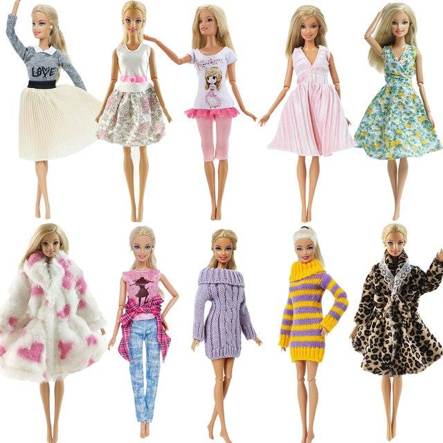 1 PCS Fatti A Mano Abito di Moda Abito Corto Cute Cartoon Modello T-Shirt Leggings Pantaloni Accessori Vestiti per la Bambola di Barbie Giocattolo 3