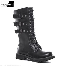 High Quality Leather Boots Men England Style Military Cowboy Boots Buckle Strap Platform High-Top Biker Boots Shoes Plus Size 45
