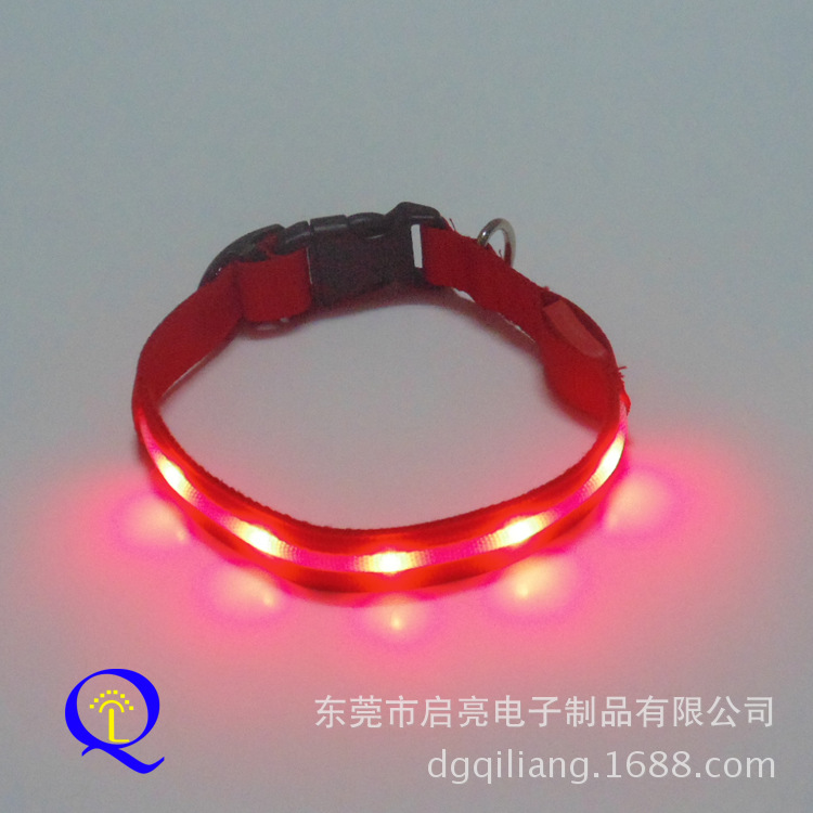 LED Luminous Pet Collar Flow Flash Nylon Dog Collar Dongguan