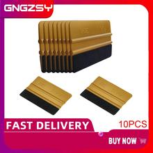 10pcs Gold Carbon Fiber Film Vinyl Wrapping Fabric Felt Squeegee Car Wrap Window Tint Tool Cleaning Scraper Sticker Remover A62F