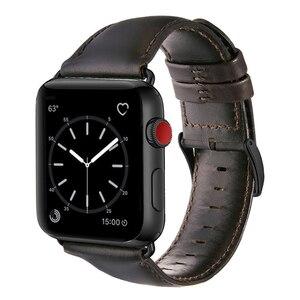 Image 1 - Bracelet en cuir véritable de vache pour Apple bracelet de montre 42 mm 44 mm vioto pour montre iWatch 5 4, marron foncé