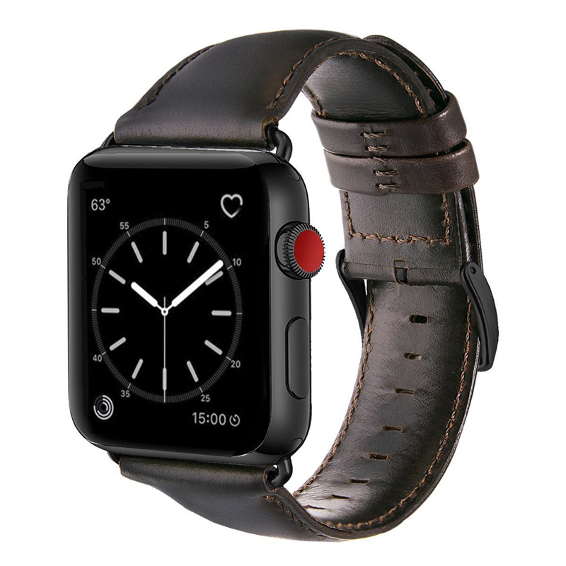Dark Brown Genuine Cow Leather Strap For Apple Watch Band 42 Mm 44 Mm Viotoo Mens Watch Strap For IWatch 5 4 Band