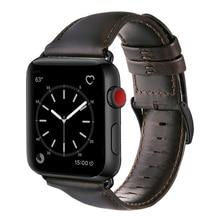 Koyu kahverengi hakiki inek deri kayış için Apple saat bandı 42 mm 44 mm Viotoo erkek saat kayışı iWatch için 5 4 bant