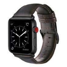 Marrom escuro pulseira de couro de vaca genuína para apple watch band 42 mm 44 mm viotoo masculino pulseira de relógio para iwatch 5 4 banda