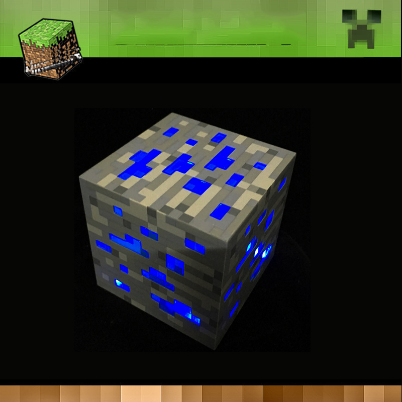 My Redstone Night Lamp Ore Blue Stone Diamond Square Night Lights AA Battery Power Supply Led Toys For Kids Gift Lighting