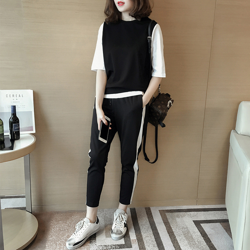 European Stations New Fashion Coloured Half-sleeve T-shirt Top Two-piece Recreational  Trousers Sports Suit