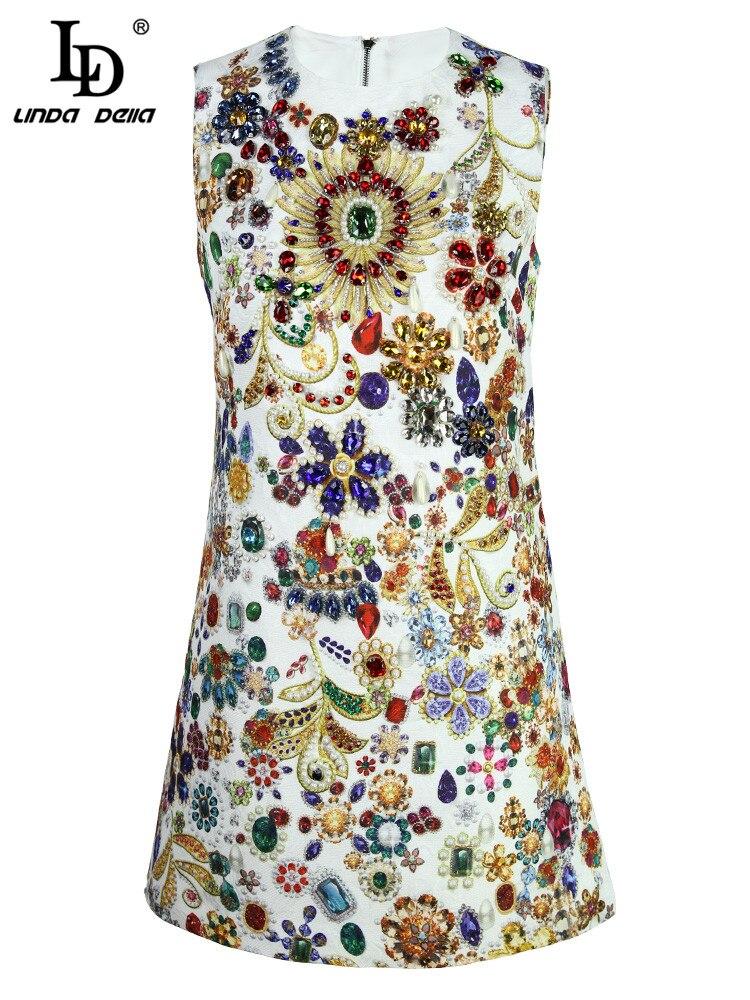 ファッション滑走路サマードレス女性のノースリーブゴージャスなクリスタルビーズエレガントなヴィンテージミニショートドレス Mobile 最も安い DELLA