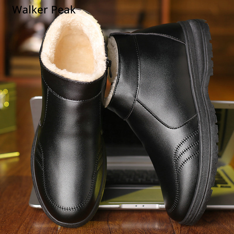 Winter Snow Boots Shoes Mens Leather Fur Plush Warm Ankle Boots Shoe Booties Loafers Casual Sneakers New Cheap Walker Peak
