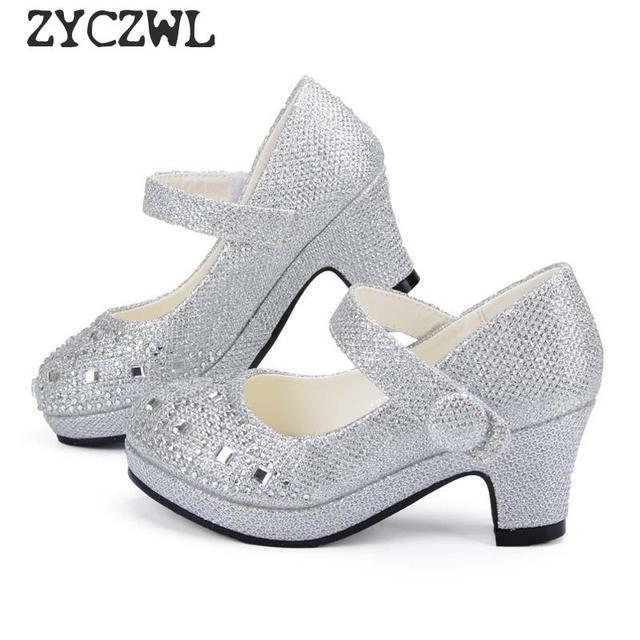 Children Princess Shoes for Girls Sandals High Heel Glitter Shiny Rhinestone Enfants Fille Female Party Dress Shoes