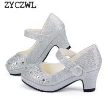 ילדי נסיכת נעלי בנות סנדלים גבוהה עקב גליטר מבריק ריינסטון Enfants Fille נשי מסיבת שמלת נעליים