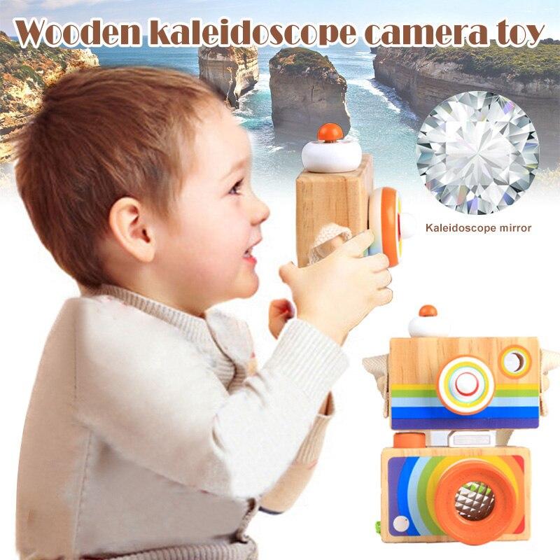 Wooden Rainbow Camera Toy Toddler Kids Kaleidoscope Lens Pretend Play Toys Home Bedroom BM88