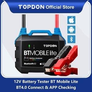 Image 1 - TOPDON سيارة لاسلكية جهاز اختبار بطارية BT المحمول لايت 12 فولت بلوتوث بطارية مراقب 100  2000CCA شاحن السيارات التحريك محلل ل