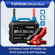 TOPDON Wireless Car Battery Tester BT Mobile Lite 12V Bluetooth Battery Monitor100  2000CCA Auto Charger Cranking Analyzer To