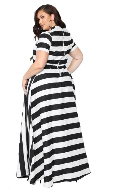 Oversized Women Maxi Short Sleeves Floor Length Casual Dress Plus Size Ladies Summer Stripes Party Tall Beauty Vestido 4