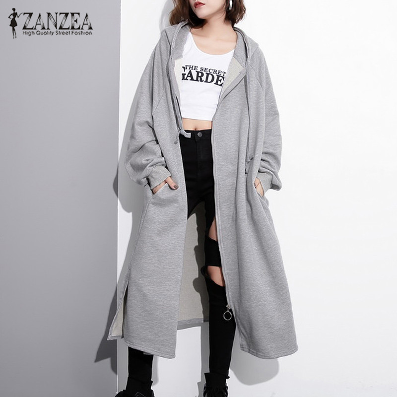 2019 Autumn Hooded Zipper Jackets ZANZEA Women Solid Hoodies Long Coats Winter Long Sleeve Split Sweatshirts Outwear Plus Size