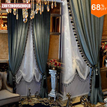 Blackout grosso sólido cortina de veludo cor pura luxo para o quarto preto para fora luxo cortinas cortina cortina cortina de cortina de contas