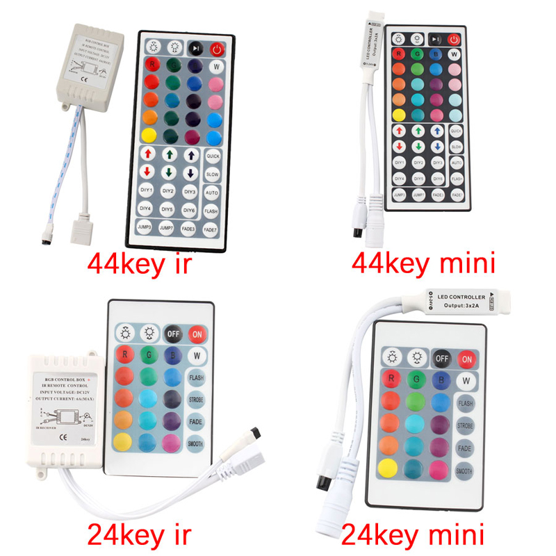 24 Key 44 Key Led RGB Remote Controller DC 12 V 24 V Mini IR RGB Led Strips Controller Remote For RGB 3528 5050 LED Strip