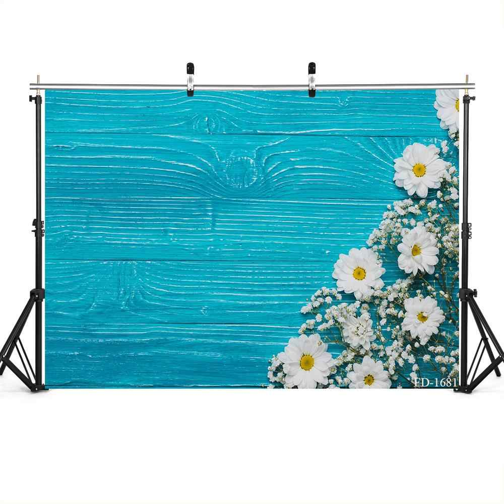 White Flower and Blue Wooden Board Wedding Baby Photography Background Custom Photography Studio Photography Background