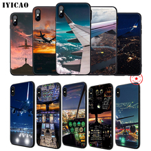IYICAO Airplane Red Space Soft Phone Case for iPhone 11 Pro XR X XS Max 6 6S 7 8 Plus 5 5S SE Silicone TPU