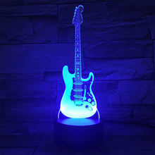 Series Electric Guitar 3d Small Night Light Colorful Creative Student Gift Table Night Lamp Decoration Usb Star Light Home Decor cheap alloet Atmosphere cartoon CN(Origin) Glass other Fluorescent Switch