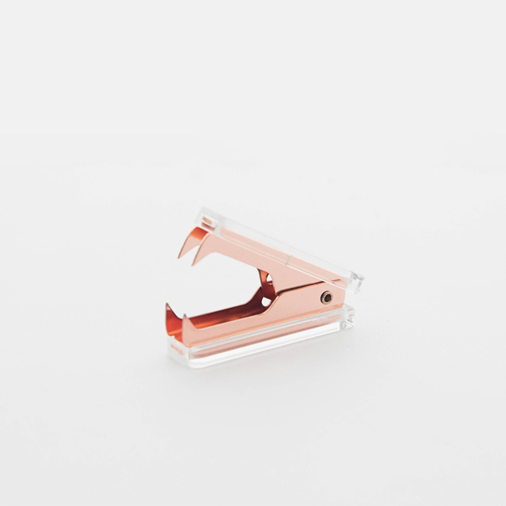 Clear Acrylic Rose Gold Staple Remover Office School Desk Accessories