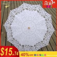 Spitze Sonnenschirm Sonnenschirm Stickerei Braut Regenschirm Weiß Elfenbein Hochzeit Regenschirm Ombrelle Dentelle Parapluie Mariage Dekorative