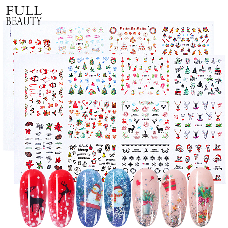 22 Types Christmas Style Nail Art Stickers Snowflake Sliders Decals DIY Nail Art Decoration Manicure Tip Slider Set CHE875-894
