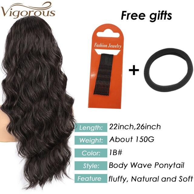 Coleta de pelo largo ondulado vigoroso para mujer, coleta sintética con cordón, coleta para mujer negra