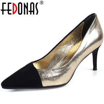 FEDONAS Sexy Mixed Colors Genuine Leather Women'S Summer Shoes Pointed Toe High Heels Pumps 2020 Fashion Wedding Shoes Woman