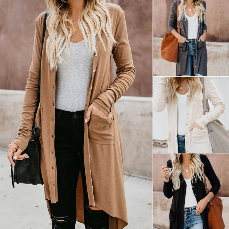 Brand New Autumn Winter Women Sweaters Solid Elastic Long Sleeve Knitted Polyester Button Cardigans Casual Loose Pocket Sweaters
