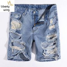 Summer Men Shorts Big Hole Ripped Homme Short Jeans Classic Korean Casual Denim Beachwear Cotton Trousers Free Shipping(China)