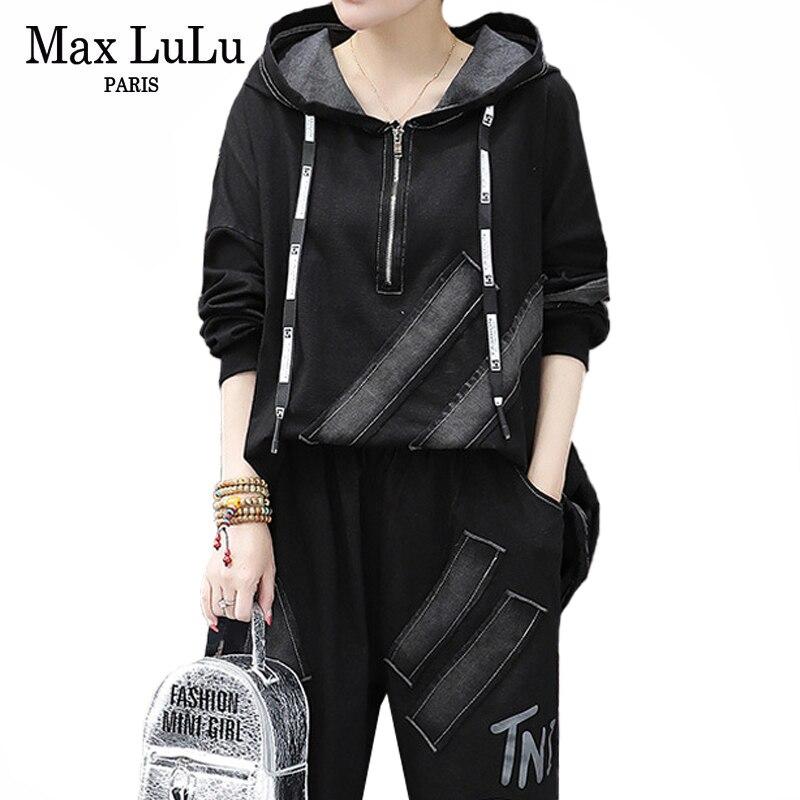 Max LuLu 2020 estilo chino primavera moda señoras Patchwork chándales mujeres sudaderas con capucha y pantalones Harem mujer conjuntos de 2 piezas