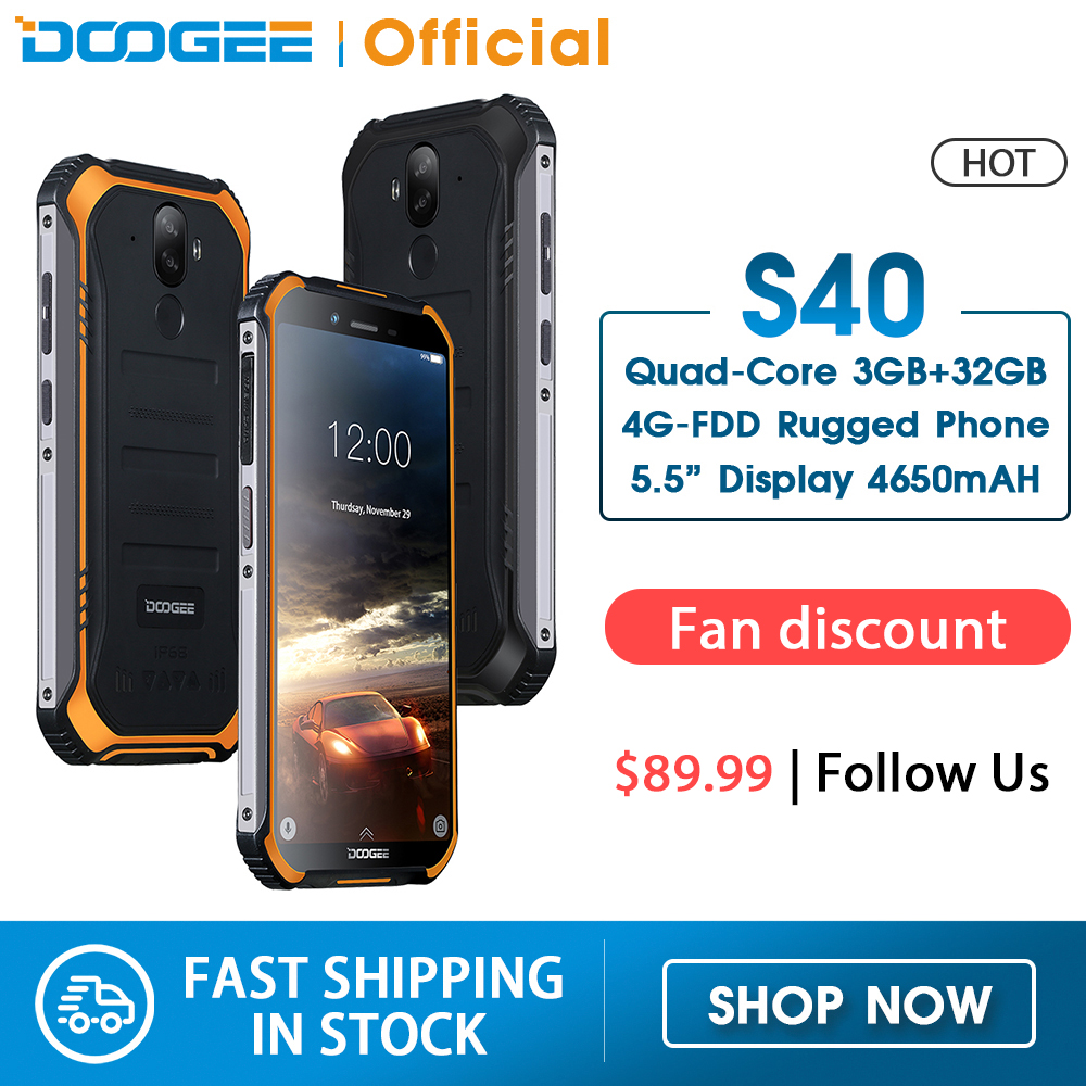 DOOGEE S40 4GNetwork Rugged Mobile Phone 5.5inch Display 4650mAh MT6739 Quad Core 3GB RAM 32GB ROM Android 9.0 8.0MP IP68/IP69K(China)
