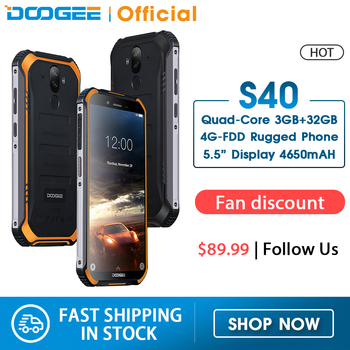 Doogee s40 4 gnetwork 견고한 휴대 전화 5.5 인치 디스플레이 4650 mah mt6739 쿼드 코어 3 gb ram 32 gb rom 안드로이드 9.0 8.0mp ip68/ip69k|휴대 전화|   -