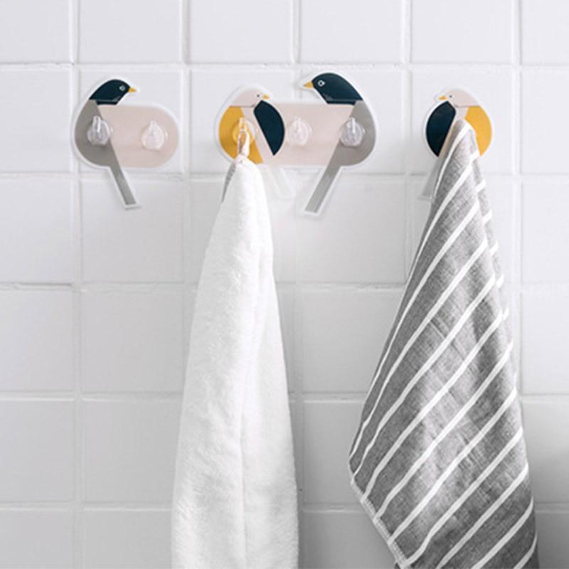 Self Adhesive Wall Hook Bird Shaped Keys Clothes Storage Holder Rack Hanger PVC Sticker Holder For Kitchen Bathroom Home Decor
