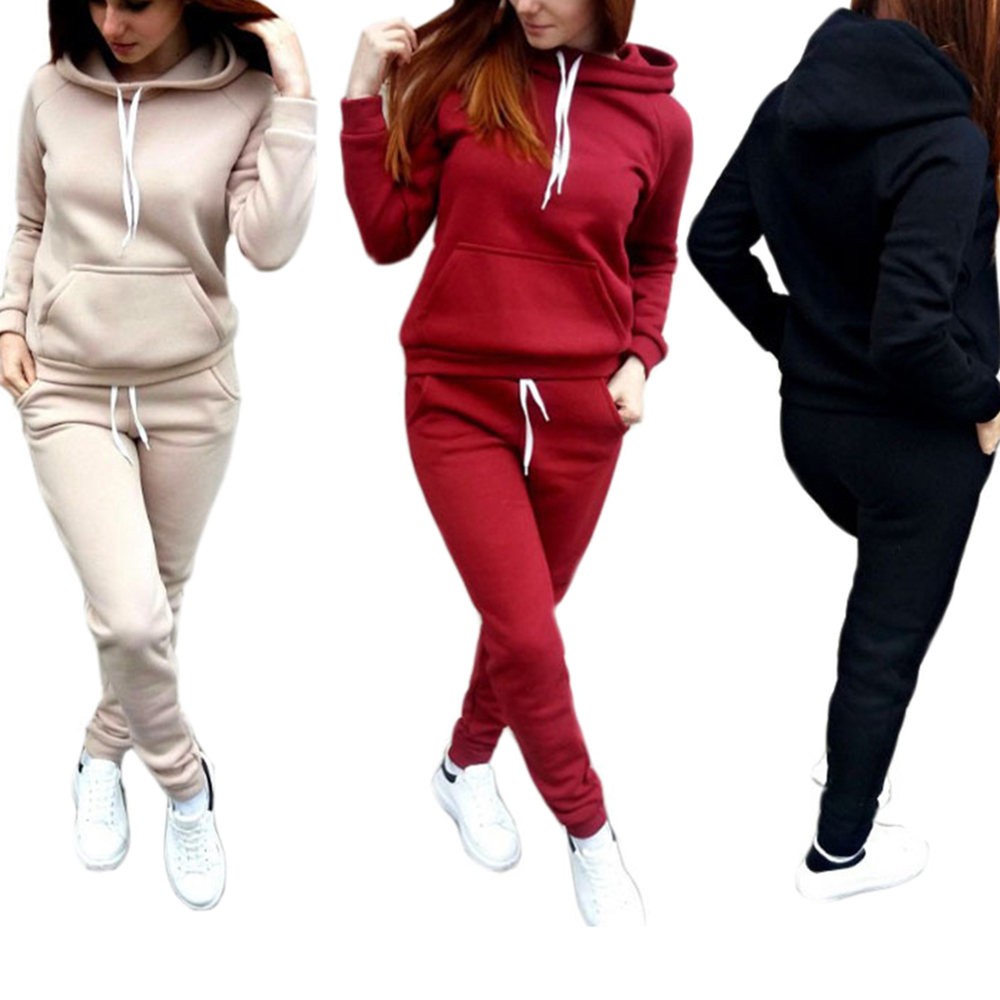 SFIT Women Set Suit Top-Pants Hoodies Warm 2piece-Set Female Newest Solid
