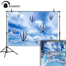 цена на Allenjoy hot air balloon photo background clouds birthday baby shower newborn photography vinyl photophone photozone backdrop