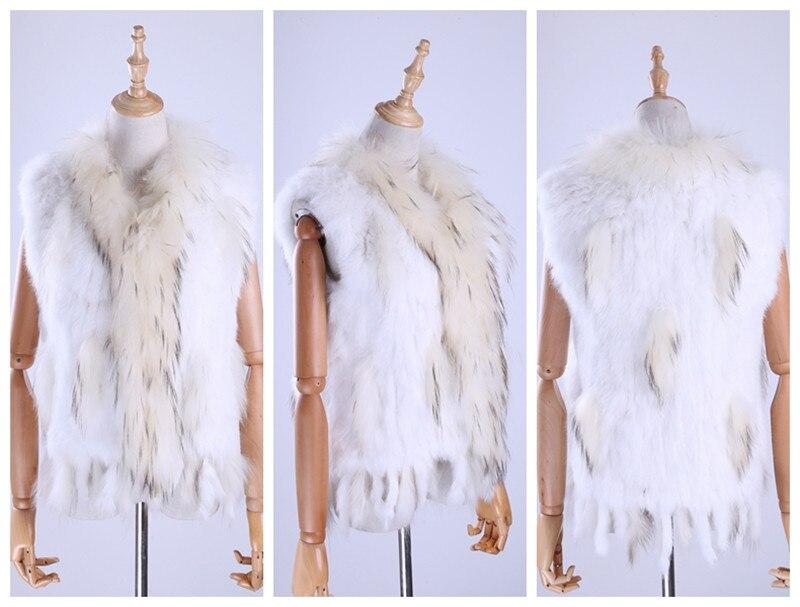 H9a2e799eed6a438c964004361c7739a9k Brand New Women's Lady Genuine Real Knitted Rabbit Fur Vests tassels Raccoon Fur Trimming Collar Waistcoat Fur Sleeveless Gilet