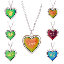 Heart Necklace Jewelry Change-Pendant Photo-Picture-Frame Gift Locket-Color Rainbow Romantic