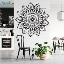 Design simples arte mandala flor decalque da parede decoração casa yoga estúdio removível decalques de vinil presente bb527