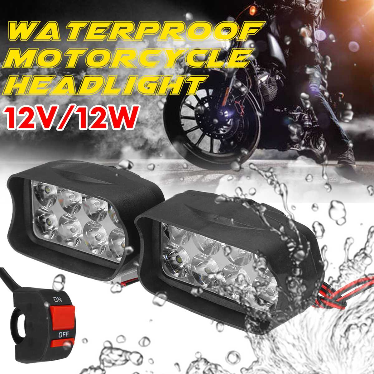12V 12W Motorcycle LED Headlights Spotlights Super Bright Fog Spot Lamp Waterproof Auxiliary Driving Lights Headlamp With ON OFF