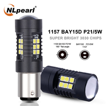 NLpearl 2x Signal Lamp 1157 Led Bay15d P21/5w LED Car Bulb 3030 SMD P21w Led Ba15s 1156 Py21w Bau15s Turn Brake Backup Light 12V