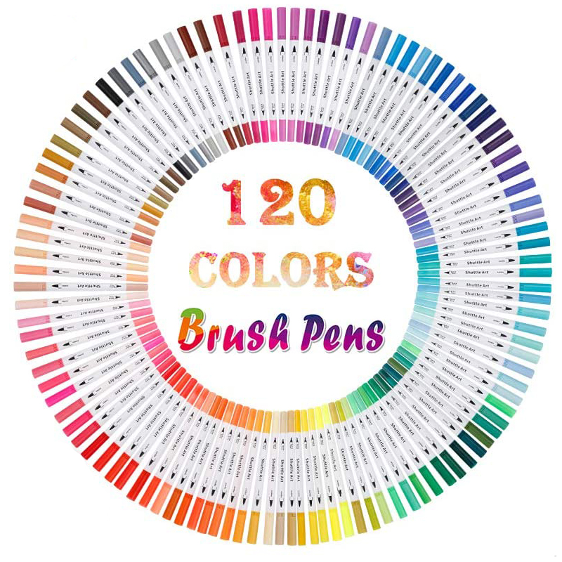120 Colors Dual Tip Brush Art Marker Pens Fineliner Brush Markers Set For Artist Calligraphy Lettering Journal Doodling Writing